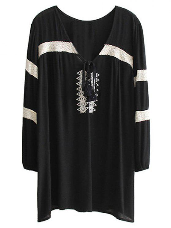 Bordado V cuello largo mini vestido de la manga - Negro L