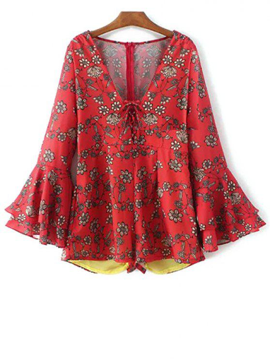 buy Printed Plunging Neck Bell Sleeve Romper - RED L