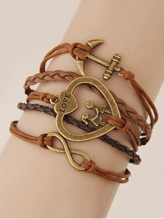 trendy Heart Infinity Anchor Braided Bracelet - BROWN