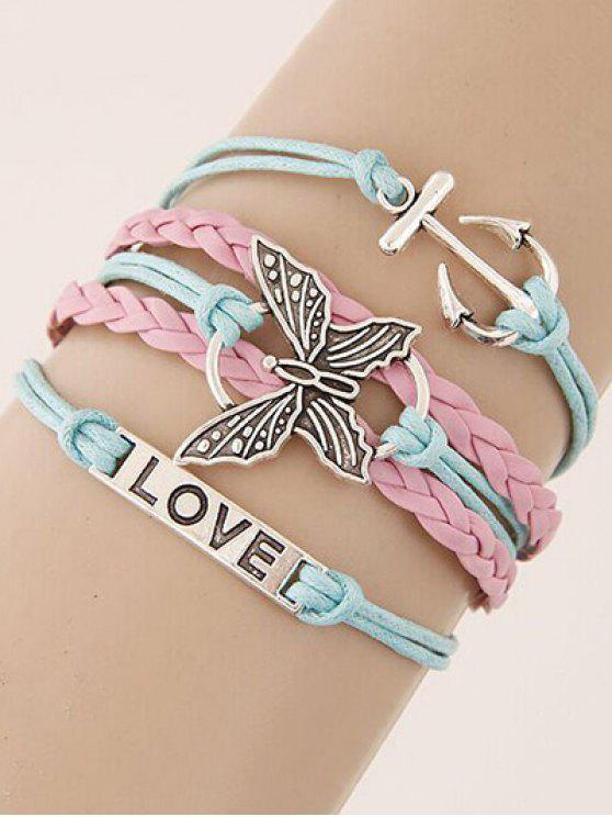 Bracelet tressé orné de papillon et ancre - Multicolore