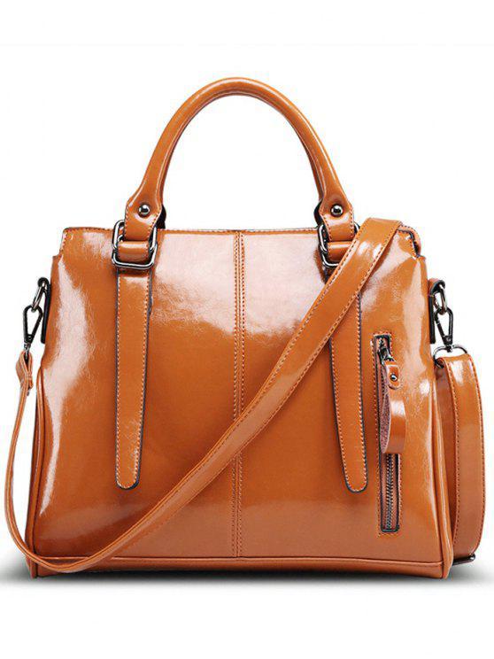 ladies Straps Solid Colour Tote Bag - BROWN