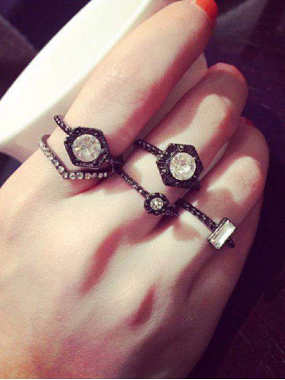 latest Punk Rhinestone Hexagon Ring Set - WHITE