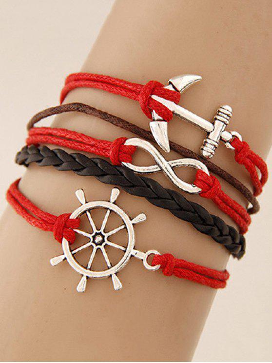 ladies Anchor Rudder Infinity Layered Bracelet - RED