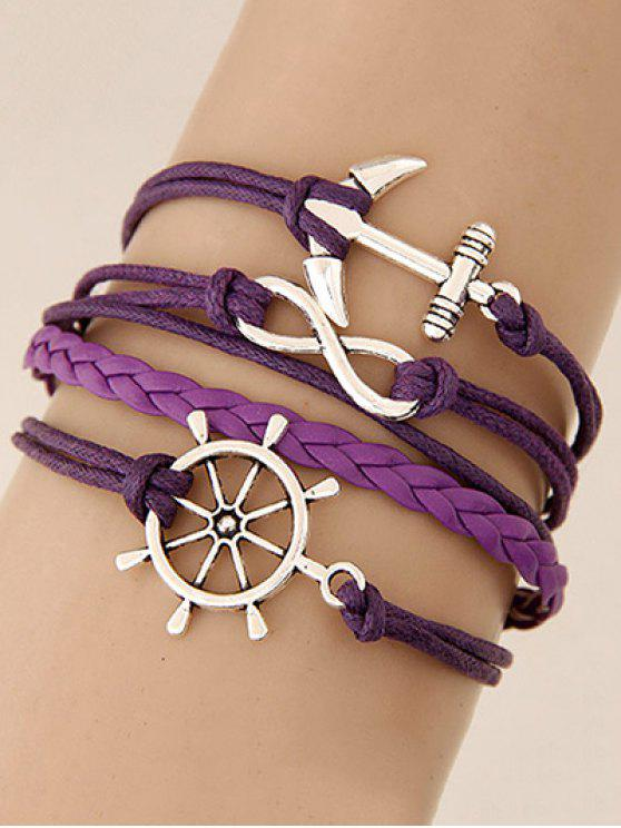 best Anchor Rudder Infinity Layered Bracelet - PURPLE