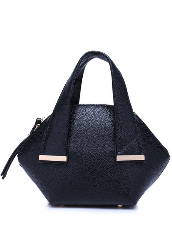outfit Metal Trim Dark Color Tote Bag - BLACK