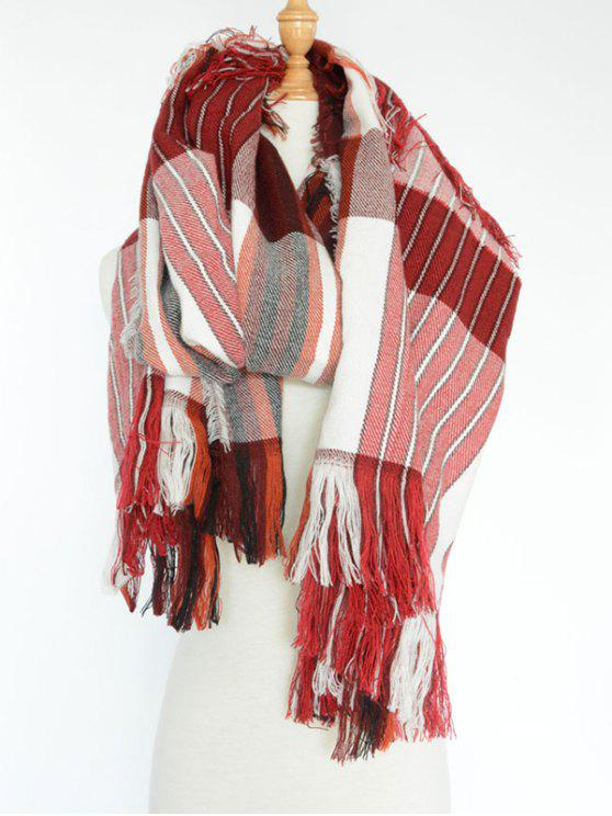online Stripe Fringed Pashmina - WINE RED