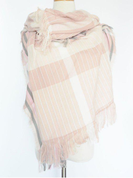 Stripe frangée Pashmina - ROSE PÂLE