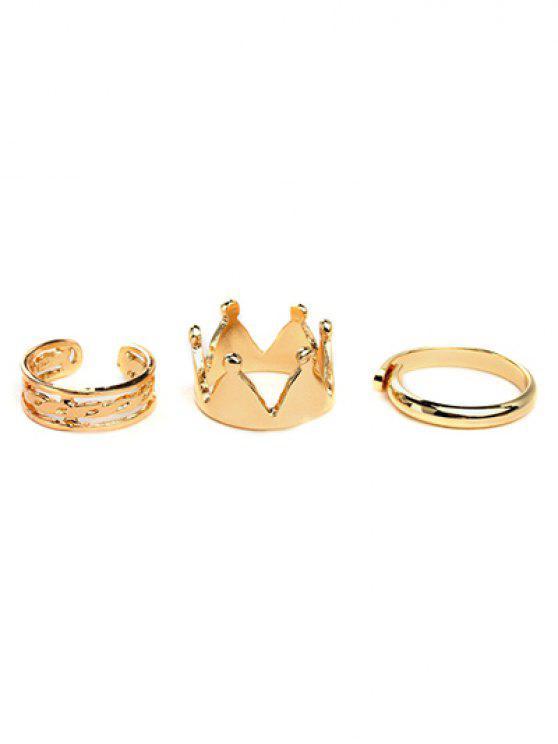 fashion Crown Ring Set - GOLDEN