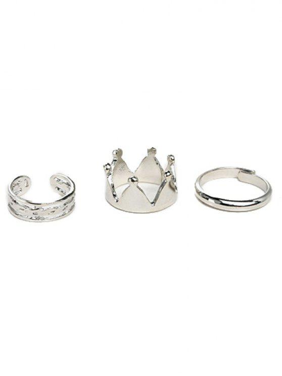 chic Crown Ring Set - SILVER