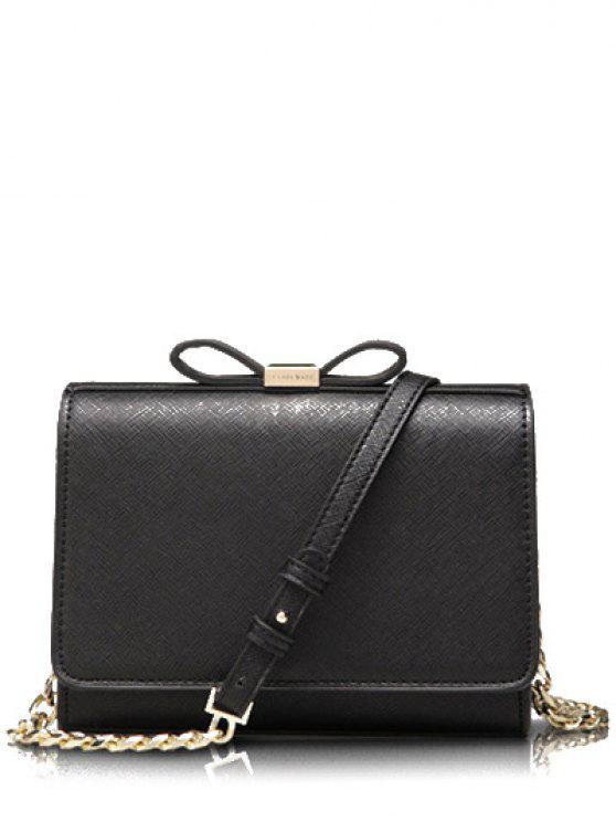 fancy Bowknot Solid Color Crossbody Bag - BLACK
