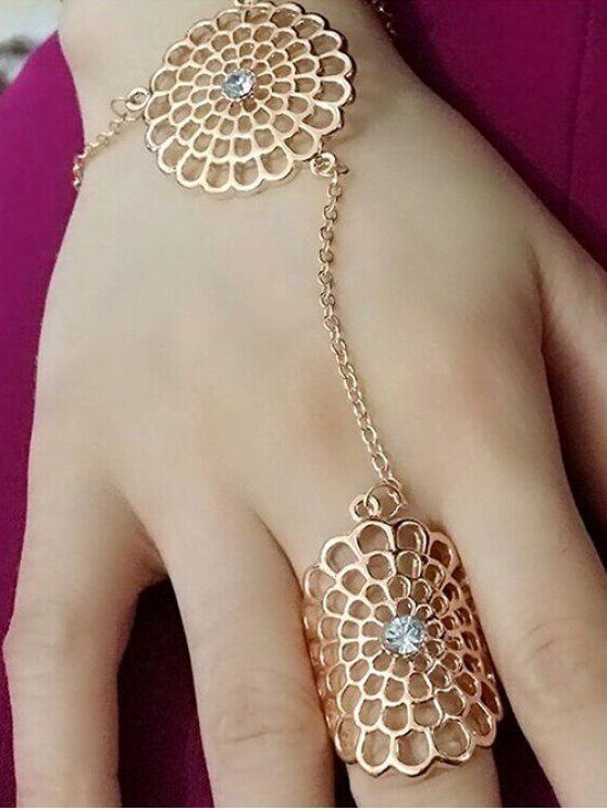 unique Rhinestone Filagree Flower Ring - GOLDEN