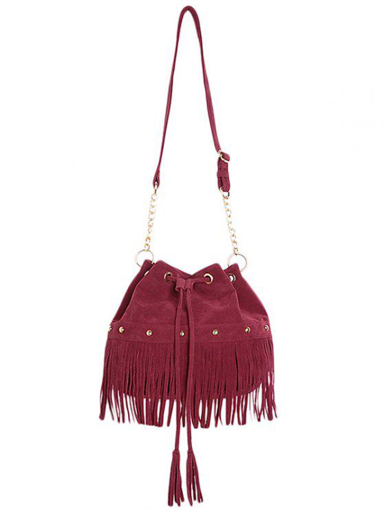 affordable Solid Color Fringe Rivet Crossbody Bag - WINE RED