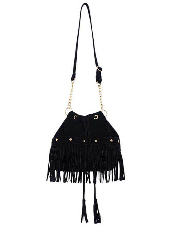 buy Solid Color Fringe Rivet Crossbody Bag - BLACK