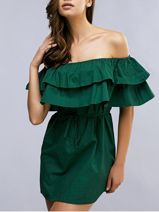 chic Ruffles Off The Shoulder Mini Dress - GREEN ONE SIZE(FIT SIZE XS TO M)