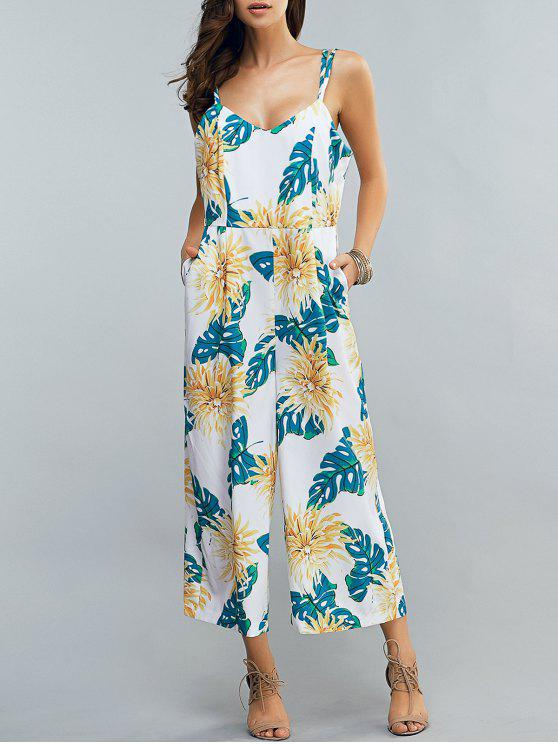 fancy Full Floral Print Cami Chiffon Jumpsuit - COLORMIX M