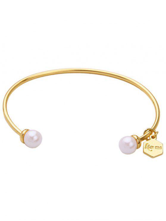 best Faux Pearl Pentagon Cuff Bracelet - WHITE