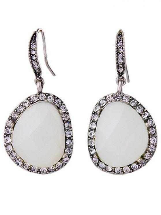 ladies Rhinestone Faux Gem Earrings Jewelry - SILVER