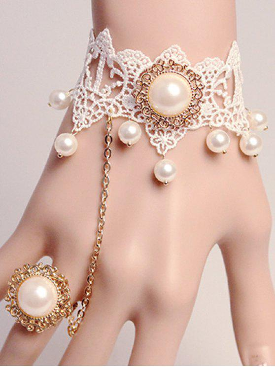 Perlas de imitación pulsera de encaje con el anillo - Blanco