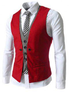 Faux Twinset V-Neck Single Breasted Color Block Sleeveless Waistcoat For Men - Red Xl