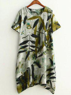 Plus Size Leaf Ink Painting Baggy Tee Shirt Dress - Green Xl