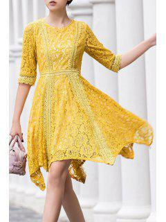Round Neck Irregular Hem Lace Skater Dress - Yellow S