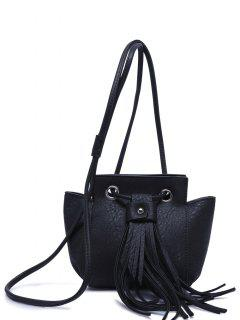 Fringe Dark Color Crossbody Bag - Black