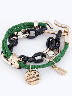 Disc Letter Braided Bracelet - Green