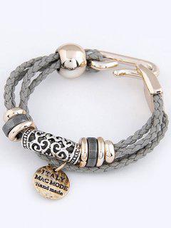 Layered Disc Braided Bracelet - Gray