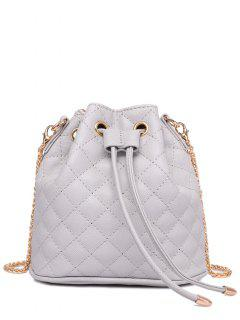 Checked Stitches Chains Crossbody Bag - Light Gray