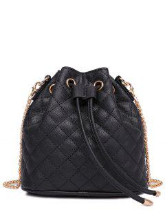 Checked Stitches Chains Crossbody Bag - Black