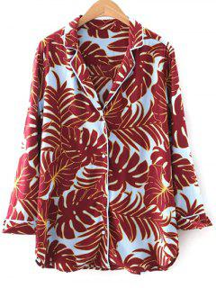 Printed Lapel Collar Loose-Fitting Shirt - Red S