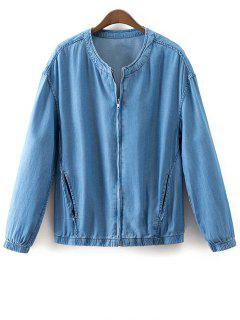 Solid Color Stand Collar Denim Coat - Light Blue S