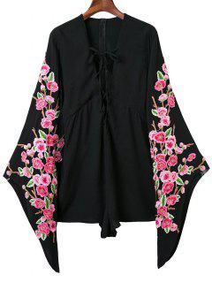 Plunging Neck Floral Lace Up Romper - Black M