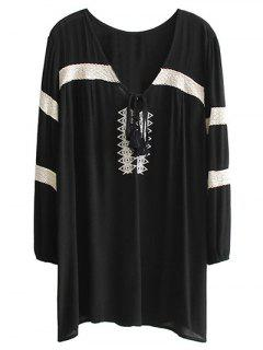 Embroidered V Neck Long Sleeve Mini Dress - Black M