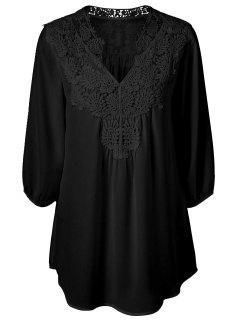 Plus Size Crochet Trim Tunic Top - Black L