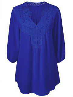 Plus Size Crochet Trim Tunic Top - Sapphire Blue 2xl