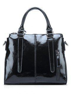 Straps Solid Colour Tote Bag - Black