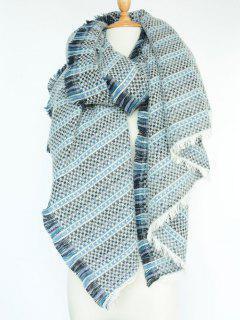 Plaid Stripe Fringed Pashmina - Blue
