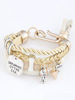 Bracelet Tressé En Faux Cuir  - Blanc
