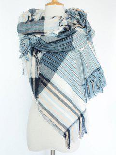 Stripe Fringed Pashmina - Blue