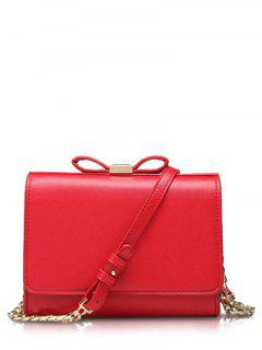 Bowknot Solid Color Crossbody Bag - Red