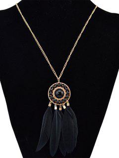Faux Feather Round Pendant Sweater Chain - Black