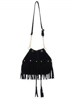 Solid Color Fringe Rivet Crossbody Bag - Black