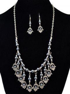Palm Fringe Faux Turquoise Beads Jewelry Set - Black