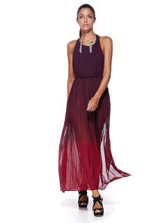 Ombre Color High Slit Halter Maxi Dress - Red Xl