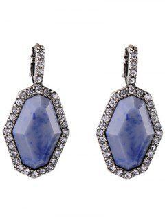 Rhinestoned Geometric Earrings - Silver