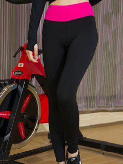 Color Block Taille élastique Sport Leggings - Rose M