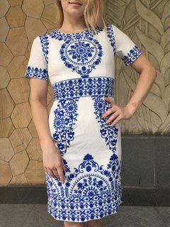 Porcelaine Imprimer Robe Moulante - Bleu Et Blanc S