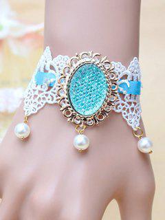 Faux Pearl Flower Lace Bracelet - Blue
