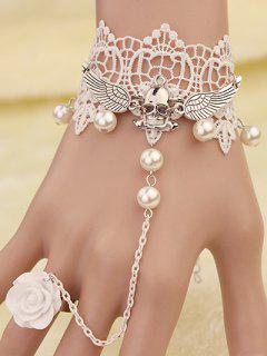 Crâne Ailes Bracelet Dentelle Avec Anneau - Blanc